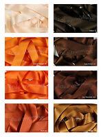 Double Satin Ribbon Berisfords Oranges & Browns Shades Short Lengths Full Reels