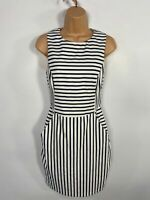 WOMENS OASIS NAVY & WHITE STRIPED SLEEVELESS FITTED SUMMER OCCASION DRESS UK 8