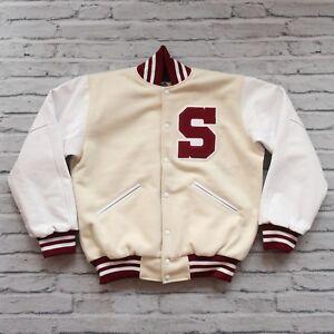 Vintage Rare Stanford Cardinal Leather Wool Varsity Jacket Coat Alumni