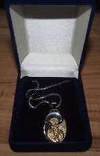 Footprints in the Sand Sterling Silver Necklace Stainless Chain Silver Gold Wave