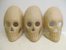 "3 Ready to Paint - Paper Mache - Skull mask 8"" ` Halloween decor"