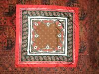 "70s Vintage Red Silk Paisley-Wrap-Scarf-34x34""-Boho Gypsy Peasant Hipster-France"