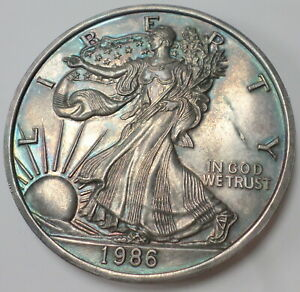 1986 Walking Liberty 1 Full Troy Pound .999 Fine Silver American Eagle Rainbow
