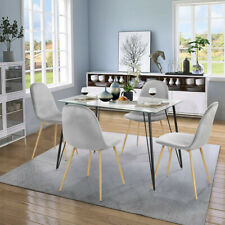 5 Piece Dining Table and Chairs Set Tempered Glass Table Grey Velvet Chairs