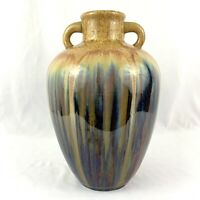 Vintage Drip Glaze Art Pottery Vase Jug Multicolor 2 Double Handle Handmade 13""