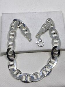 Solid 925 Genuine Sterling Silver Mens 8mm Anchor Marine Link Bracelet 8.5 Inch
