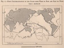 First Circumnavigation of the Globe West to East & East-West. World 1885 map