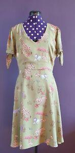 Modcloth khaki safari dress size L (UK 12-14)