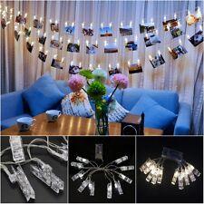 10 Fotoclips Weiß LED Lichterkette Drahtlichterkette Leuchtdraht Weihnachten Neu