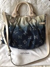 CELINE 2WAY bag denim blue Croc Embossed Bag