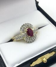 All-Natural .50ct Red Ruby & Diamond 14K White & Yellow Gold Ladies Estate Ring