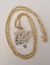 10k Yellow Gold Mens 100 Percent Emoji Diamond Pendant Charm 18 Inch Rope Chain