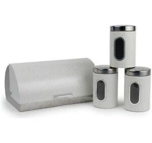Marble Effect Storage Pots 4Pc Bread Bin Canister Set Tea Coffee Sugar Jar Caddy