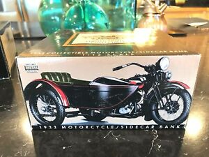 Harley-Davidson 1933 Motorcycle Side Car BLACK Diecast 1/12 Scale Bank in Box AT