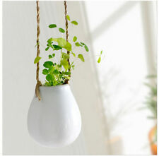 Balcony Garden White Porcelain Hanging Vase Pots Flower Plant Planter with Twine