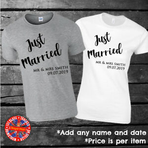 Just Married Personalised T-shirts, Couples, Set, Wedding, Honeymoon, Matching