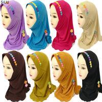 Ramadan Hjiab Cap Children Girls Scarf Muslim Wrap Shawls Islamic Headwear Hijab