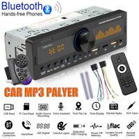 1 DIN Car MP3 Player Radio Bluetooth TF USB AUX Head Unit +Steering Wheel Remote