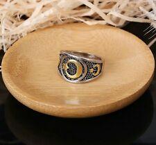 Islam Allah Muhammad Ring Premium Gold Silver Black size 8 to 10 Turkey Arabic