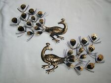 Mid-Century Modern Art Brass PEACOCK WALL HANGING Pair Metal DECOR Hong Kong #2