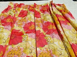 4 VTG Floral Pinch Pleat Curtains Drapes Panels Retro Large Pink Floral 24.5x84