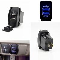 Car Blue LED 3.1A Dual Port USB Outlet Phone Charger Socket Jack Switch 12V-24V