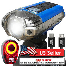 Blitzu Gator 390 USB Rechargeable Bicycle Light Front Back Set Free Tail Light