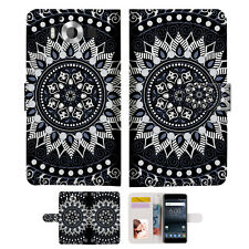 Black AZTEC TRIBAL TPU Wallet Case Cover For Nokia 6 2018 -- A005