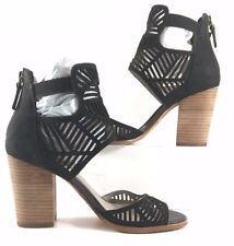 Hinge Black Suede Laser Cut Open Toe Sandals Womens Size US 6.5M
