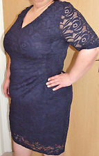 New with Tags M & Co Navy Blue Lace Figure-Hugging Occasion Dress Size 20 RRP£49