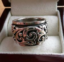 HEAVY SOLID 925 SILVER WIDE SPINNER BAND & THUMB WOMENS OR MENS RING SZ V/W 11.5