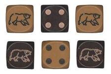 6 New 16mm Rounded Edge Black Bear Dice - 3 Lt Brown 3 Dark Brown  –  D6 Dice