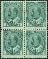 Canada #89 mint F-VF OG HR 1903 King Edward VII 1c green Block of 4 CV$200.00