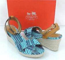 Coach Henley Blue-Print Open-toe Fabric Wedge Sandals, 9.5M - $119