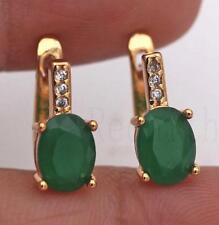 18K Gold Filled Earrings Emerald White Topaz Zircon Jade Classic Ear Hoop Stud