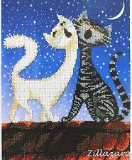 Stickpackung mit Perlen Stickset Stickvorlage Stickbild Katze Kinder Motiv 56