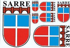 SAARLAND- ALTES WAPPEN DES SAARSTAATES 1947-1956-SARRE-7 AUFKLEBER versch.Größen