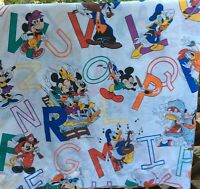 Vintage Disney TWIN Size Flat Bed Sheet Minnie /& Mickey Mouse Daisy Duck Goofy Alphabet Clean Kids Bedding Gently Used