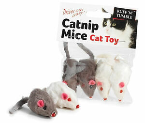 4 PACK RUFF N TUMBLE CATNIP MICE/MOUSE FOR CATS, CAT TOY, DRIVES CATS CRAZY NEW!