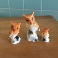 Vtg Bone China Owl figurines set 3 dad mom baby Taiwan bird brown collectibles