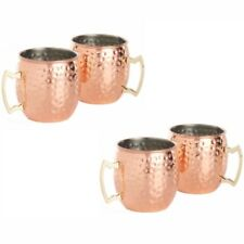 Set of 4 Copper Moscow Mule Mug Cocktail Barrel Bar Tankard Kitchen Barware Cup