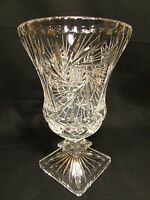 "Antique 8.25"" American Brilliant ABP Cut Crystal Vase Whirling Hobstar 1880-1920"