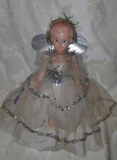 Vintage Original 1950s Christmas Large Fairy Angel Topper Netted Foil Dress
