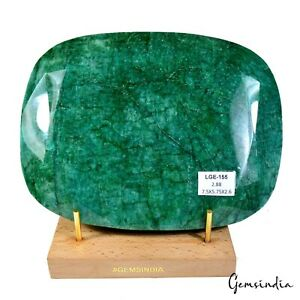 14400 Ct/2.88 Kilo Natural Green Emerald Oval Cut Earth mined Gemstone W Stand