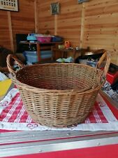 Antique /vintage wicker basket 2 handles Round fruit/veg etc