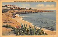 LA JOLLA CALIFORNIA ALONG CLIFFS~SCRIPPS MEMORIAL HOSPITAL POSTCARD 1941