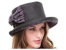 Ladies Black Waxed Cotton Waterproof Winter Wax Cloche Hat Tweed Bow and Brim