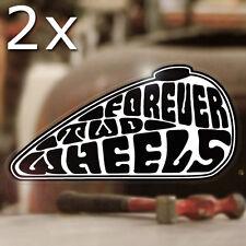 2x Stück Forever Two Wheels Sticker Aufkleber Autocollante Bobber weiss 120mm