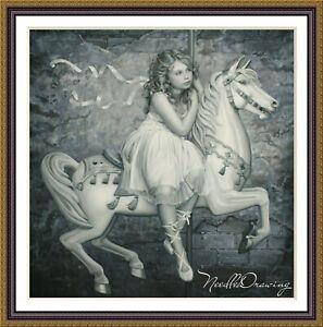 Carousel Horse - Chart Counted Cross Stitch Pattern Needlework craft
