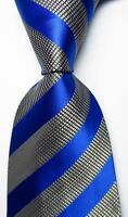 New Classic Striped Blue White  Black JACQUARD WOVEN 100% Silk Men's Tie Necktie